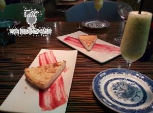 tarta de queso y sorbete de pi_a, cava y albahaca
