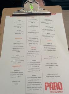La carta Parq Restaurant