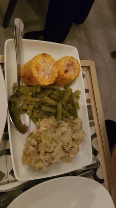 mazorcas, judias verdes y coles de bruselas